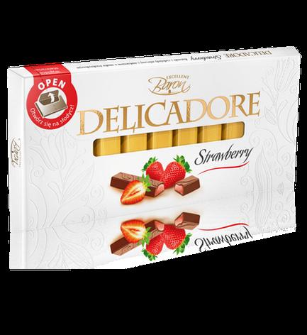 Шоколад Baron Excellent Delicadore Strawberry молочный с клубникой 200 г, фото 2