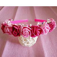 Ободок Канзаши Розы розово малиновый