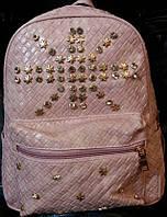 Рюкзак молодежный с украшениями из металлических кнопочек и страз