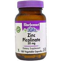 Bluebonnet Nutrition, Пиколинат цинка, 50 мг, 100 вегетарианских капсул
