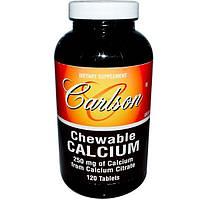 Carlson Labs, Жевательный кальций, ваниль, 250 мг, 120 таблеток