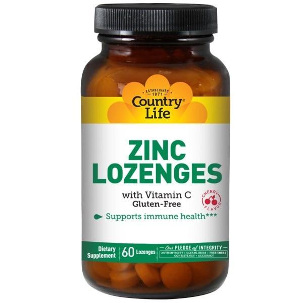 Цинк с витамином С Country Life со вкусом вишни, 60 таблеток