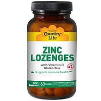 Country Life, Цинк в таблетках с добавлением витамина С, со вкусом вишни, 60 таблеток