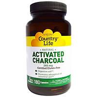 Country Life, Активированный уголь, 260 мг, 180 капсул