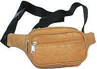 Качественная поясная сумка из кожи Paul Rossi 908-MTN light brown