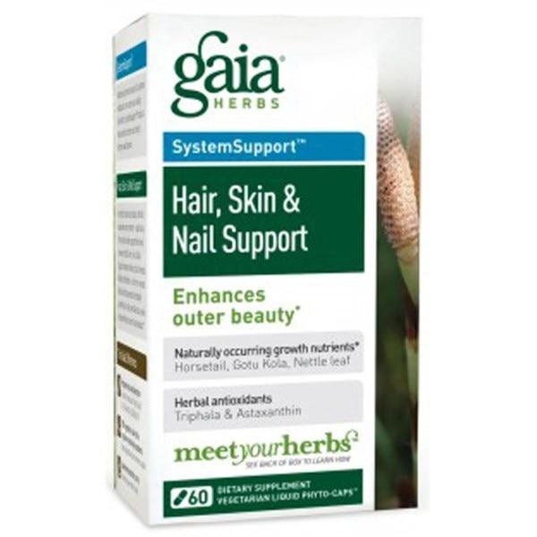 Gaia Herbs, Поддержка для волос, кожи и ногтей, 60 вегетарианских гелевых фито-капсул