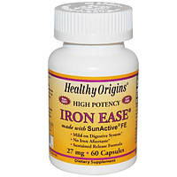 Healthy Origins, Iron Ease, 27 мг, 60 капсул