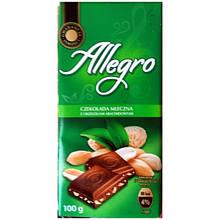 Шоколад Allegro, молочный с арахисом 100г