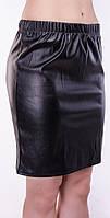 Набедренная  женская юбка - мини из экокожи (под кожу), черный // 300, черный