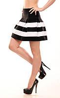 Модная юбка колокол из резинки, черно - белая // 304, черно-белый