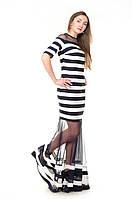 Вечернее платье в полоску с прозрачной вставкой