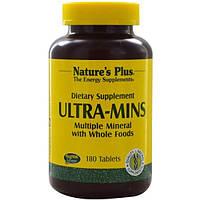 Natures Plus, Ультра-мины, разные минералы с цельными пищевыми продуктами, 180 таблеток