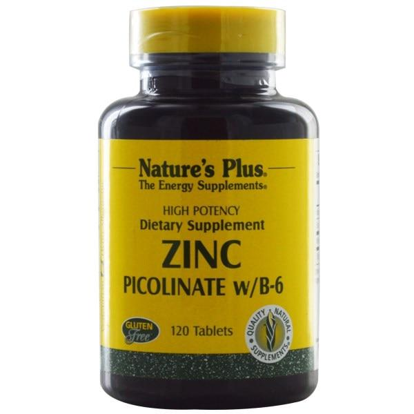 Natures Plus, Пиколинат цинка с витамином B-6, 120 таблеток - Интернет-магазин для здоровой жизни в Киеве