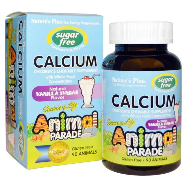 Natures Plus, Источник Жизни, парад животных, кальций, без сахара, натуральный вкус ванильного мороженого, 90 жевательных таблеток