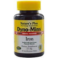 Natures Plus, Дино-Минс, железо, 27 мг, 90 кислотостойких таблеток