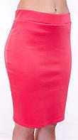 Классическая женская юбка карандаш из французского трикотажа // юбка 305, коралл