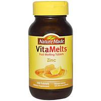 Nature Made, VitaMelts, Цинк, со вкусом меда и лимона, 100 таблеток