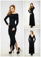 Элегантное платье макси с разрезом и открытой спиной // 210, черный