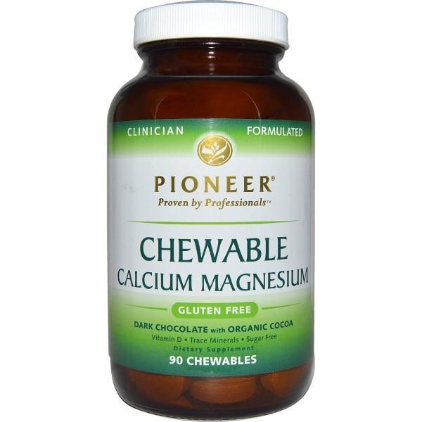 Pioneer Nutritional Formulas, Жевательный кальций и магний, с темным шоколадом, 90 жевательных таблетки на растительной основе