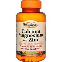 Sundown Naturals, Кальций, магний и цинк, 100 капсул