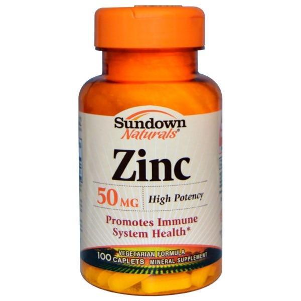 Sundown Naturals, Цинк высокоактивный, 50 мг, 100 капсуловидных таблеток