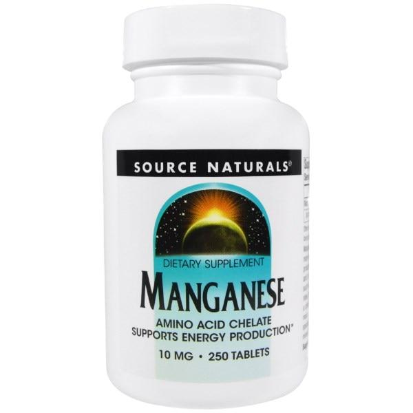 Source Naturals, Марганец, 10 мг, 250 таблеток