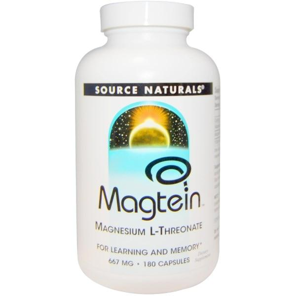 Source Naturals, Magtein, магний L-треонат, 667 мг, 180 капсул