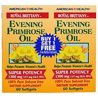 American Health, Royal Brittany, масло примулы вечерней, 1300 мг, 2 бутылочки, 60 мягких капсул в каждой