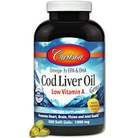 Carlson Labs, Cod Liver Oil Gems, Low Vitamin A, Natural Lemon Flavor, 1,000 mg, 300 Soft Gels