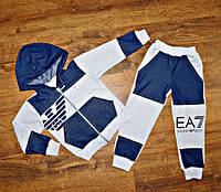 Детский спортивный костюм трикотаж+джинсовые вставки