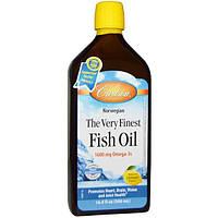 Carlson Labs, Самый чистый рыбий жир, с натуральным вкусом лимона, 16,9 жидкой унции (500 мл)