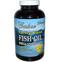 Carlson Labs, The Very Finest Fish Oil, 1000 мг, лимон, 240 гелевых капсул
