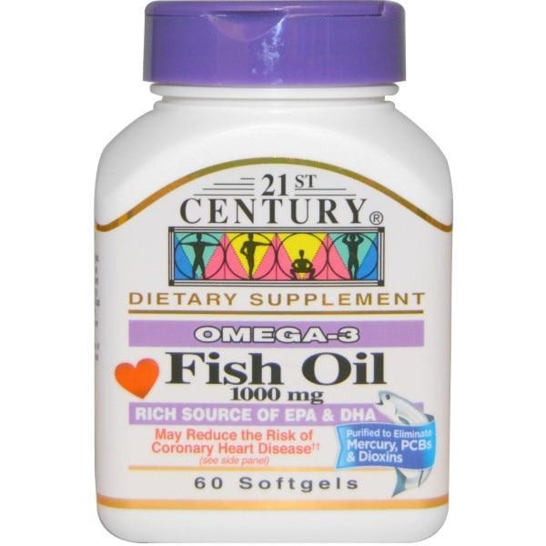 21st Century, Риб'ячий жир, 1000 мг, 60 м'яких таблеток