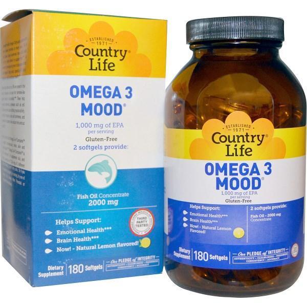 Country Life, Omega 3 Mood, 180 желатиновых капсул