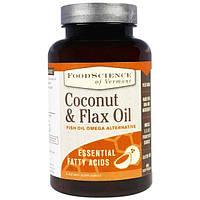 FoodScience, Кокосовое и льняное масло, 90 мягких желатиновых капсул