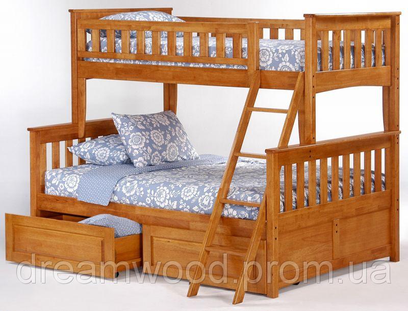 Двухярусная кровать Жасмин, массив дуб, ясень