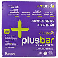 Greens Plus, Plusbar,натуральная чиа, 12 батончиков, 59 г каждый