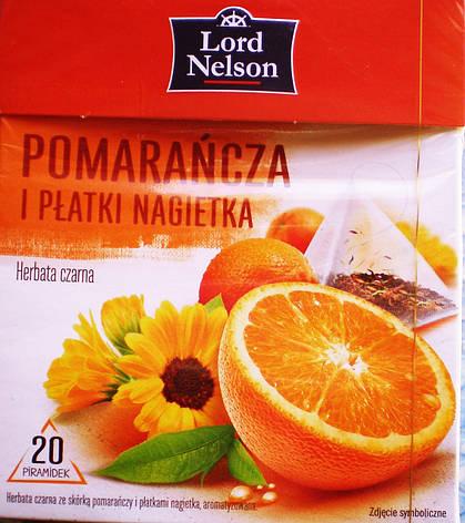 Чай Lord Nelson Herbata Pomarancza i Platki Nagietka 20 пакетов, фото 2
