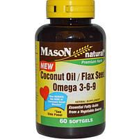 Mason Naturals, Кокосовое / Льняное масло, Омега 3-6-9, 60 мягких желейных капсул