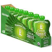 Mamma Chia, Закуска для выносливости Chia Squeeze, зеленое волшебство, 8 пакетиков по 3.5 унций (99 г)