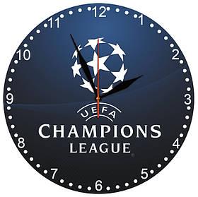 """Настенные часы """"Лига чемпионов"""" на стекле кварцевые"""