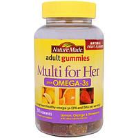 Nature Made, Мульти для нее, мультивитаминный комплекс для женщин, жевательные пастилки для взрослых c омега-3-полиненасыщенными жирными кислотами, с