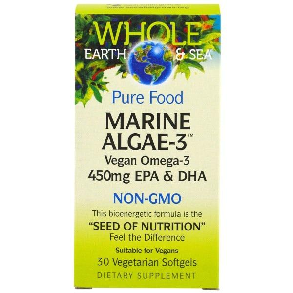 Natural Factors, Whole Earth & Sea, Marine Algae-3, 360 mg EPA & DHA, 30 Veggie Caps