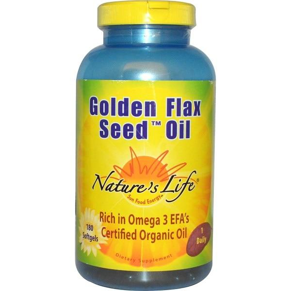 Natures Life, Масло из семени золотого льна, 180 капсул
