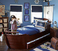 Кровать детская подростковая Капитан, массив дуб, ясень, фото 1