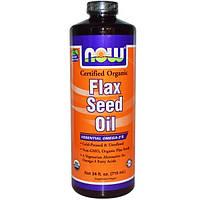 Now Foods, Сертифицированное, органическое льняное масло, 24 жидких унций (710 мл)