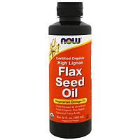 Now Foods, Сертифицированное натуральное льняное масло с высоким содержанием лигнанов, 12 жидких унций (355 мл)