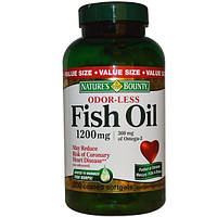 Natures Bounty, Рыбий жир без запаха, 1200 мг, 200 мягких капсул в оболочке