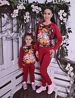 Брючный костюм для девочки Цветы