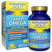 Renew Life, Наилучший рыбий жир Норвежское золото, ежедневные омега-кислоты, с натуральным апельсиновым вкусом, 60 рыбных гелевых капсул